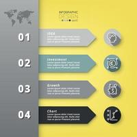 4 étapes pour travailler en flèches décrivant les processus de travail ou créant des supports de communication.