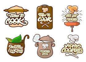 cuisson des logos de couleur mis en style cartoon. cuisinier, chef, icône d'ustensiles de cuisine ou logo. illustration vectorielle de lettrage manuscrit vecteur
