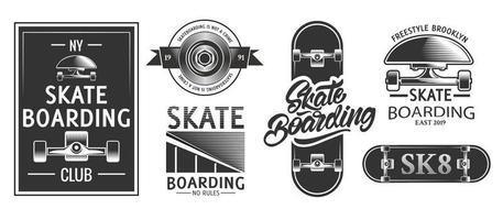 logos ou emblèmes de skateboard dans un style monochrome. conception de t-shirt affiche de planche à roulettes. vecteur