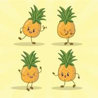 collection de jeux d'expression mignonne ananas. personnage de mascotte d'ananas