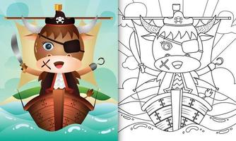 livre de coloriage pour les enfants avec une illustration de personnage de buffle pirate mignon vecteur