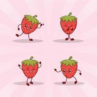 collection de jeu d'expression mignon fraise. personnage mascotte fraise