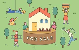 une maison à vendre. les gens se rassemblent pour acheter la maison avec de l'argent.