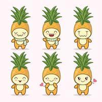 collection de jeux d'expression mignonne ananas. personnage de mascotte d'ananas vecteur
