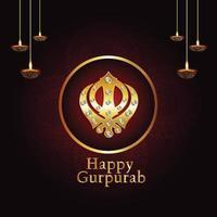 fond créatif avec symbole sikh ek onkar happy gurpurab vecteur