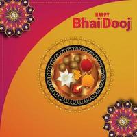 joyeux bhai dooj carte de célébration du festival avec puja thali