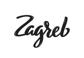 Nom de la calligraphie manuscrite de Zagreb de la ville de croatie. calligraphie au pinceau dessiné à la main.