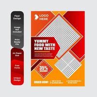 modèle de conception de brochure ou de flyer de nourriture délicieuse buffet vecteur