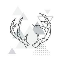 cornes de cerf polygonales sur fond de triangle minimaliste. vecteur