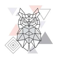 hibou polygonale sur fond de triangle minimaliste. affiche géométrique.