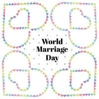 carte de la journée mondiale du mariage avec bordure de coeur multicolore