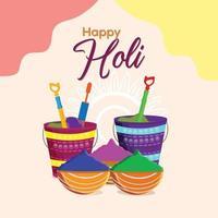 Holi avec pot de boue et bol de couleur