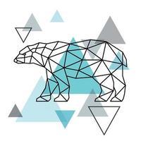 silhouette géométrique d'un ours polaire. style scandinave. vecteur
