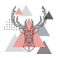 tête géométrique d'un cerf sur fond scandinave.