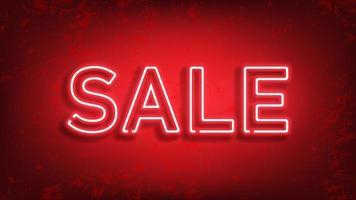 vente enseigne au néon rougeoyante. vecteur léger sur fond rouge pour votre publicité, réductions et affaires.
