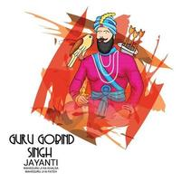 illustration vectorielle d & # 39; un fond pour joyeux gourou gobind festival singh jayanti pour la célébration sikh.