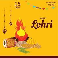 illustration vectorielle d & # 39; un fond pour modèle de vacances joyeuses lohri pour festival punjabi.