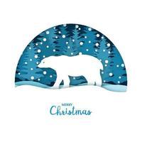 carte de joyeux Noël. ours blanc dans la forêt de neige. modèle de carte de voeux en papier découpé dans un style artisanal. concept d'origami. vecteur