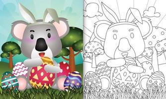 Livre de coloriage pour les enfants sur le thème de Pâques avec un koala mignon utilisant des bandeaux d'oreilles de lapin étreignant des œufs