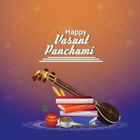 fond créatif vasant panchami avec veena et livres