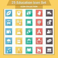 25 jeu d'icônes de l'éducation vecteur