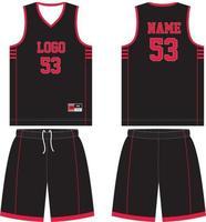 kit d'uniforme de t-shirt de basket-ball design personnalisé vecteur