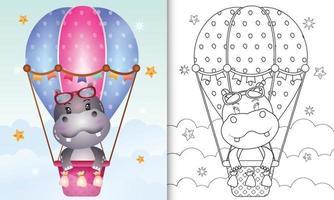 livre de coloriage pour les enfants avec un hippopotame mignon sur ballon à air chaud vecteur