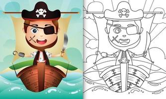 livre de coloriage pour les enfants avec une illustration de personnage mignon garçon pirate vecteur