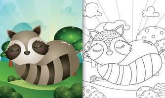 livre de coloriage pour les enfants avec une illustration de personnage de raton laveur mignon vecteur