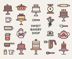 icônes de pâtisserie. collection de gâteaux de boulangerie sucrée. vecteur