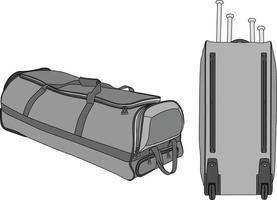 maquette de sac de sport à roulettes de baseball vecteur
