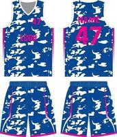 maquette de conception personnalisée uniforme de basket-ball vecteur