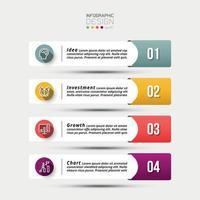 onglets d'informations, présenter le workflow ou utiliser un rapport et expliquer le workflow en 4 étapes vecteur