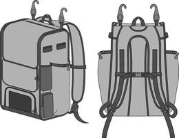 maquette de sac à dos de baseball vecteur