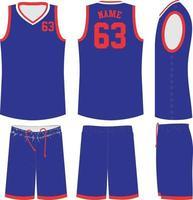 maquettes d'uniformes de basketball v nece sublimées vecteur
