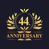 Conception du 44e anniversaire, logo d'anniversaire de 44 ans de couleur dorée luxueuse. vecteur