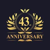 Conception du 43e anniversaire, logo d'anniversaire de 43 ans de couleur dorée luxueuse vecteur