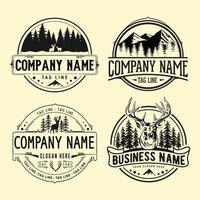 emblèmes rétro de chasse en plein air, modèle de logo vintage aventure. vecteur