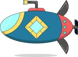 sous-marin mignon simple, parfait pour le projet de conception vecteur