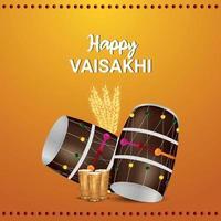 design plat de célébration vaisakhi heureux avec tambour