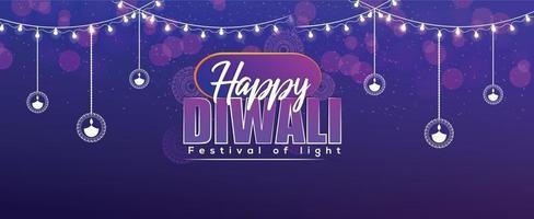 joyeux festival de diwali de bannière de célébration vecteur