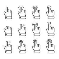 Curseur de souris de doigt de dessin animé de vecteur dans divers gestes pour les appareils mobiles à écran tactile