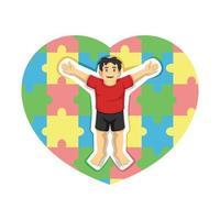 autisme avec coeur coloré de pièces de puzzle. illustration vectorielle vecteur