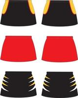 maquettes de shorts de netball de hockey sublimées vecteur