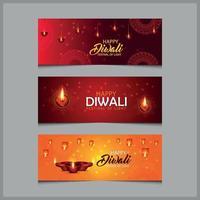 joyeux diwali bannière ensemble festival de lumière vecteur