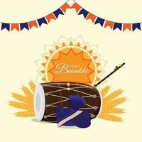 design plat de célébration vaisakhi heureux avec tambour vecteur