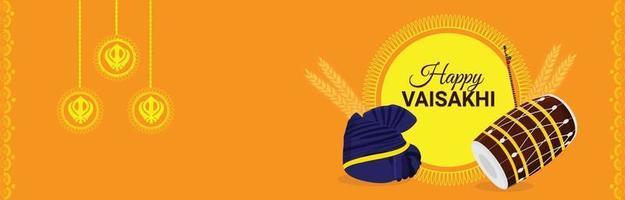 bannière du festival sikh indien vaisakhi heureux vecteur