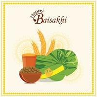 Carte de voeux vaisakhi avec illustration créative