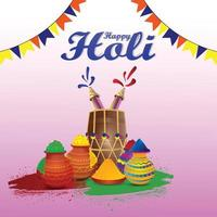 Carte de voeux joyeux holi célébration avec bol coloré et pistolet de couleur