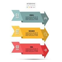 3 étapes pour la planification et la présentation des idées et des résultats par format de flèche. peut être utilisé pour les médias ou le marketing et les affaires. vecteur
